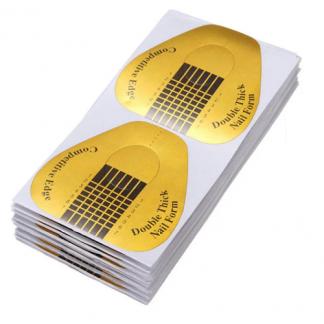 Форма для наращивания ногтей золотая широкая, 100 шт