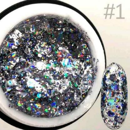 Гель для дизайна Saga GALAXY Glitter №1, 8 мл