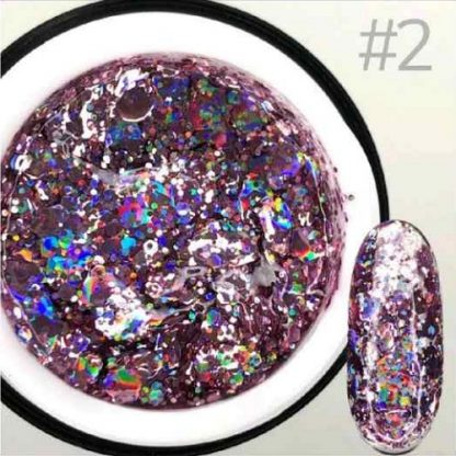 Гель для дизайна Saga GALAXY Glitter №2, 8 мл