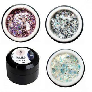 Гели для дизайна Saga GALAXY Glitter