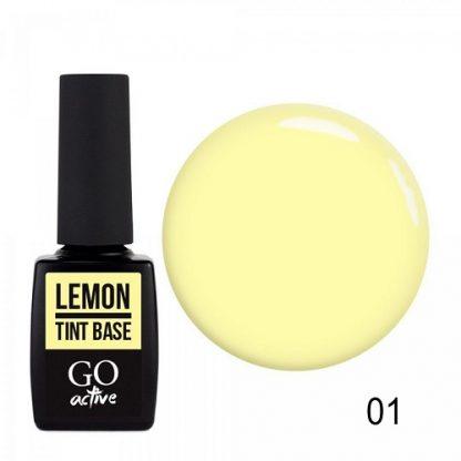 База цветная каучуковая GO Active Tint Base №01 Lemon, 10 мл