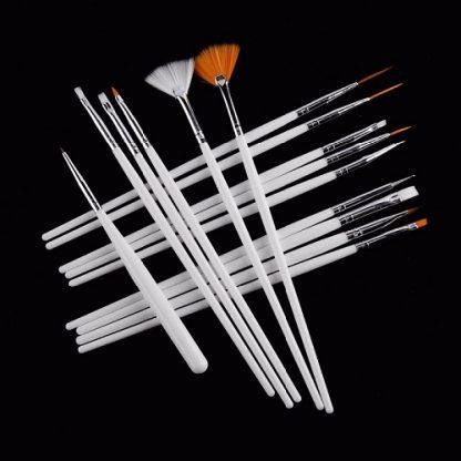 Набор кистей для дизайна и росписи ногтей 15 шт